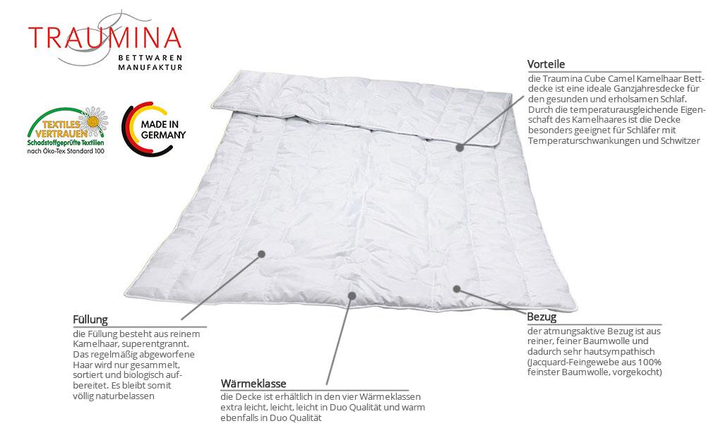 Traumina-Cube-Camel-Kamelhaar-Bettdecke-Produktmerkmale-Details