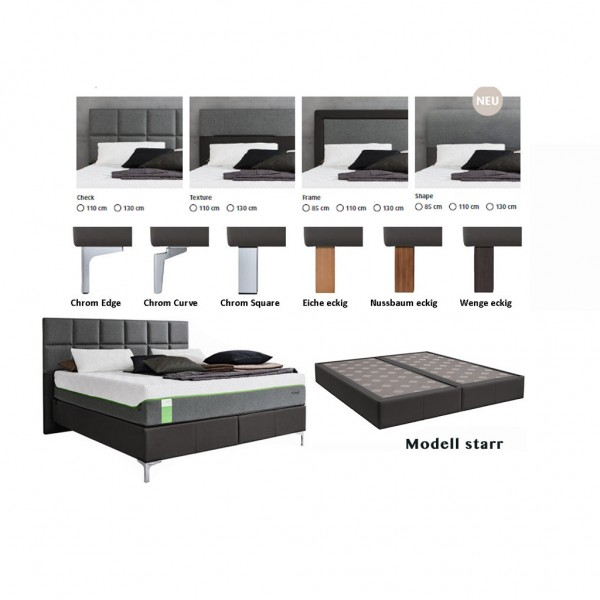 Tempur Boxspring Bett Foundation Flat starr incl. Hybrid Elite