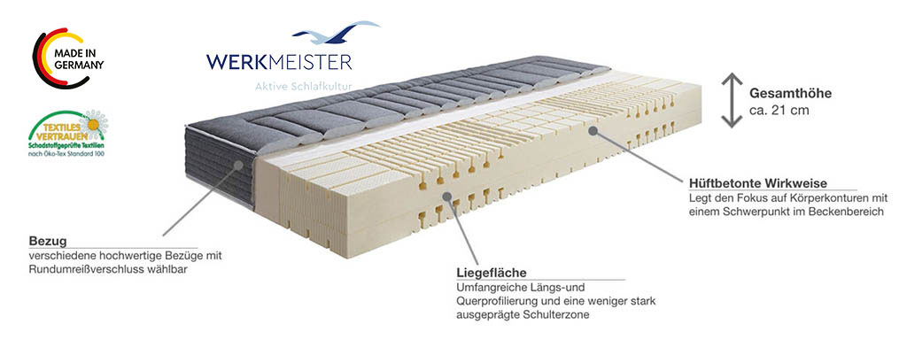 Werkmeister-M-L420-Talalay-Latex-Matratze-Produktmerkmale-Details
