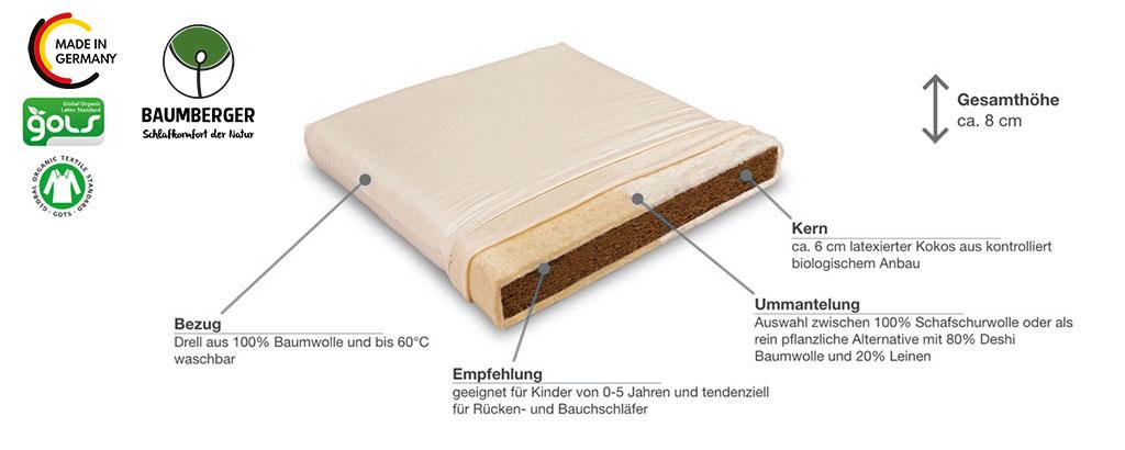 Baumberger-Cocolana-Kindermatratze-Produktmerkmale-Details