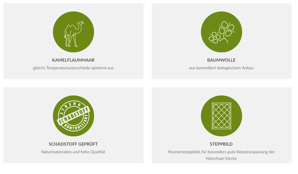 Dormiente-Luxor-Deluxe-Kamelflaumhaar-Duo-Decke-Verwendung-Materialkunde