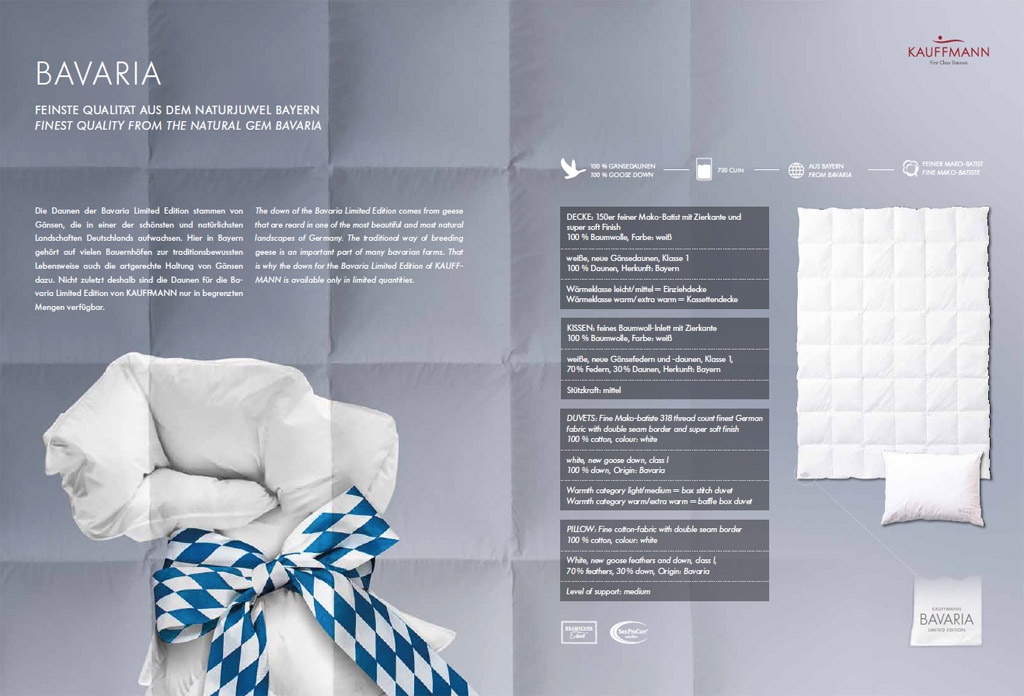 Kauffmann-Bavaria-Limited-Edition-Daunendecke-Produktmerkmale