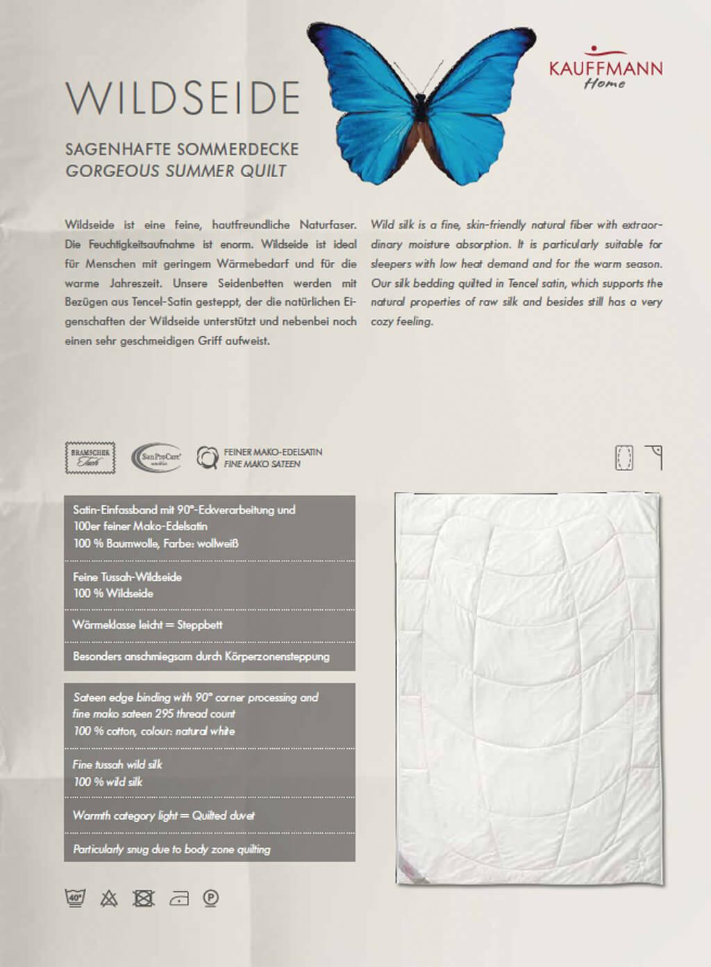 Kauffmann-Wildseidendecke-Produktmerkmale