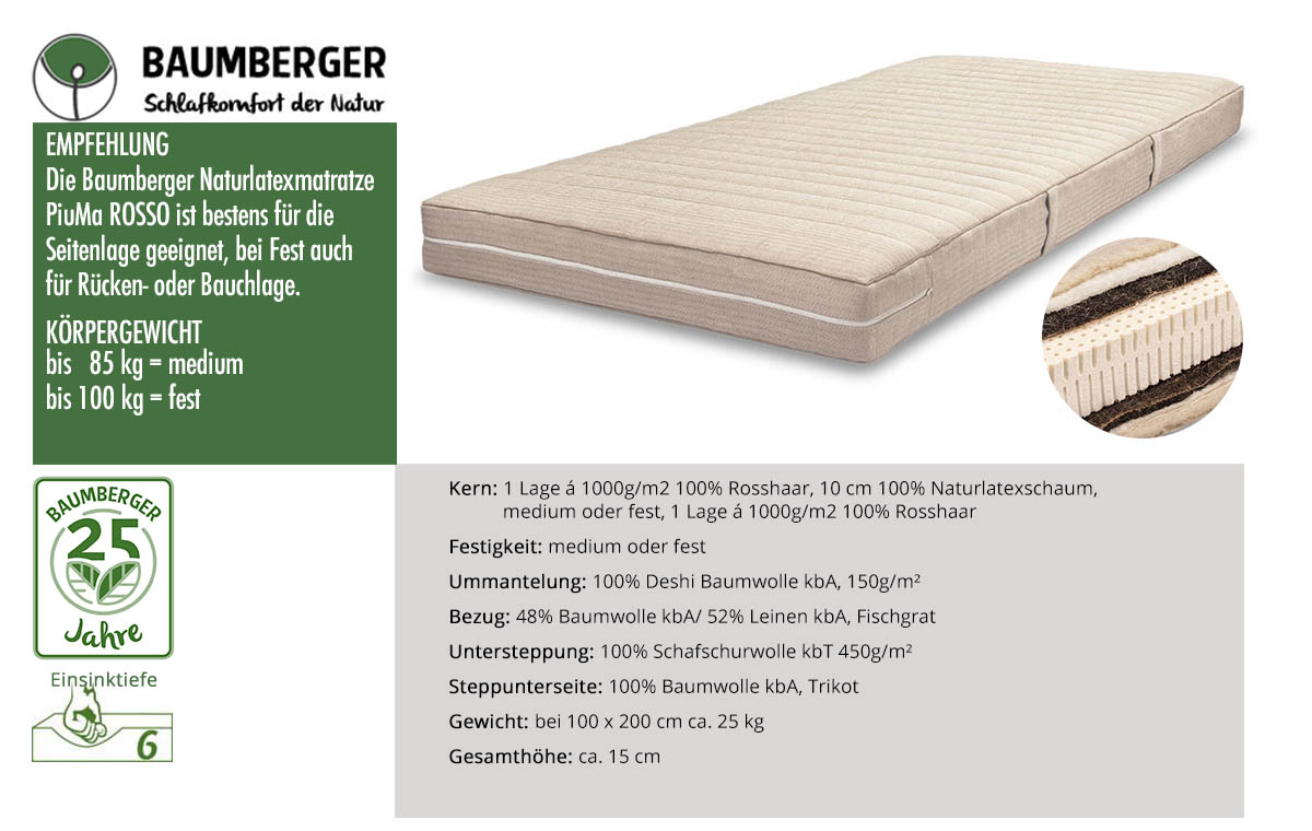 Baumberger-Piuma-Rosso-Rosshaarmatratze-online-bestellen