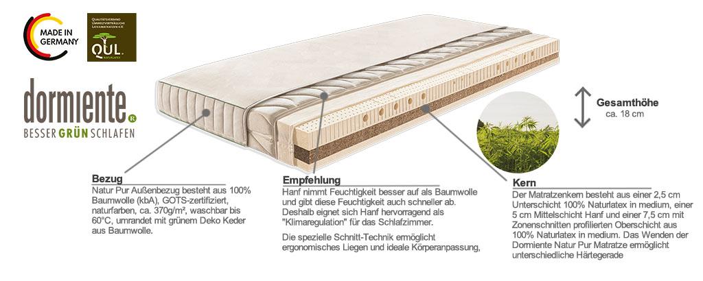 Dormiente-Natur-Pur-Hanf-Matratze-Produktmerkmale-Details