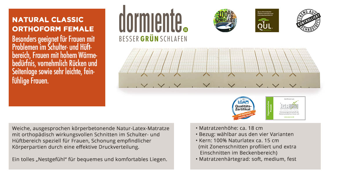Dormiente-Natural-Classic-Orthoform-Female-online-bestellen