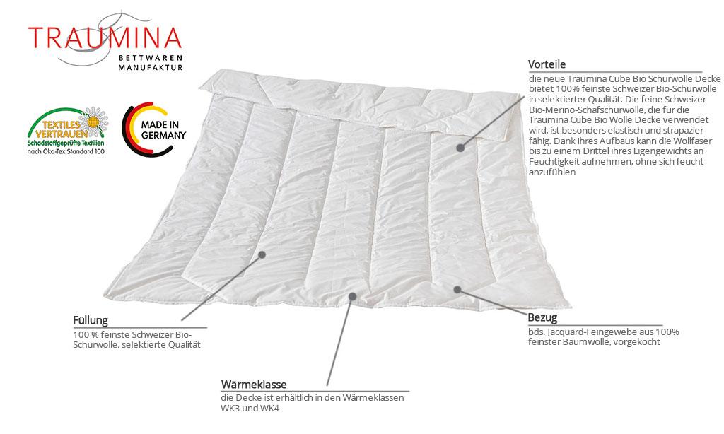 Traumina-Cube-Bio-Schurwolle-Decke-Produktmerkmale